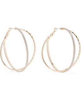 Gold-tone Glittered Enamel Earrings