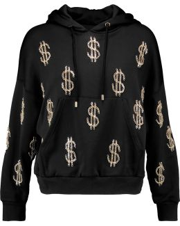 Embellished Jersey Hooded Sweater