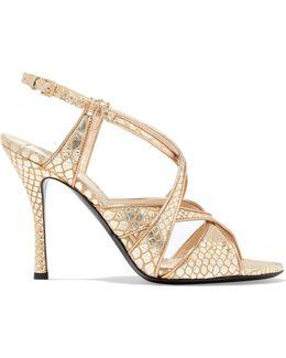 Metallic Snake-effect Leather Sandals
