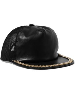 Mesh-paneled Embellished Leather Cap