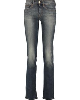 Mid-rise Faded Straight-leg Jeans