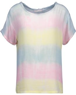 Carine Frayed Tie-dyed Gauze Top