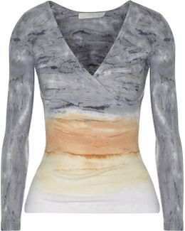 Rose Wrap-effect Tie-dyed Ribbed Cotton And Modal-blend Top