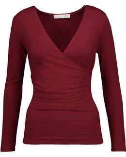 Rose Wrap-effect Stretch-modal Jersey Top