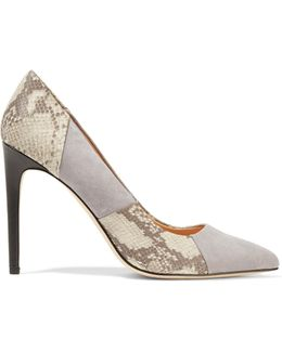 Paneled Suede And Snake-effect Leather Pumps