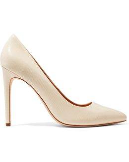 Glossed Lizard-effect Leather Pumps