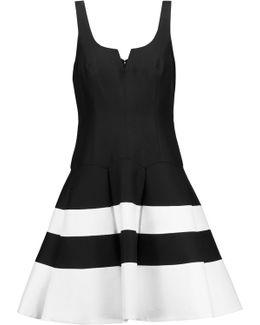 Pleated Striped Cotton And Silk-blend Mini Dress