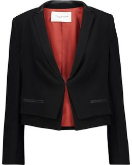Cropped Leather-trimmed Crepe Blazer