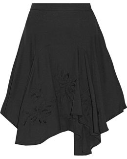 Asymmetric Embroidered Crepe Skirt