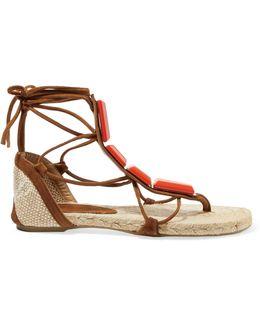 Irina Canvas-trimmed Embellished Suede Lace-up Espadrille Sandals
