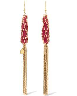 Tasseled Stone-embellished Gold-tone Earrings