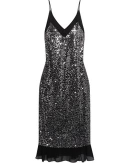 Sequinned Crepe De Chine Dress