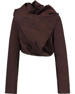 Cropped Draped Cotton And Silk-blend Jacket