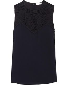 Nicky Crocheted Silk-paneled Crepe Top