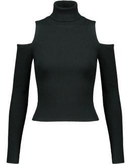 Mervyn Cold-shoulder Ribbed-knit Turtleneck Sweater