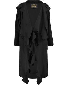Draped Wool-blend Coat
