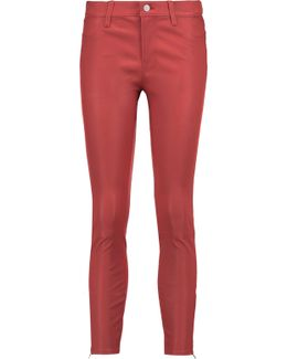 Cropped Stretch-leather Skinny Pants