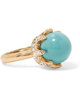 Gold-tone Cabochon And Crystal Ring
