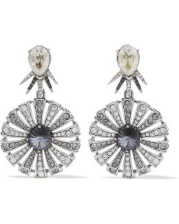 Celestial Star Silver-tone Crystal Clip Earrings