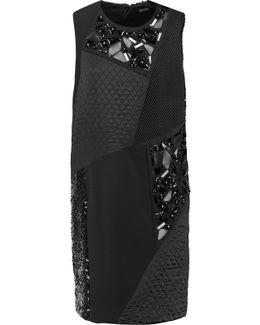 Embellished Paneled Crepe Mini Dress