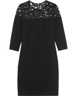 Lace-paneled Crepe Dress