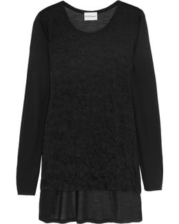 Paneled Crinkled-jersey And Modal Top