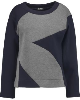 Two-tone Stretch-knit Sweatshirt