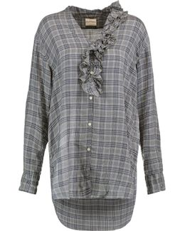 Ruffle-trimmed Checked Voile Shirt