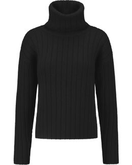 Ribbed Boiled Wool Turtleneck Sweater