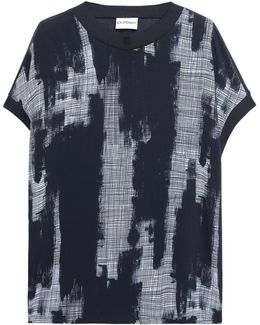 Printed Silk Crepe De Chine And Cotton And Modal-blend Top