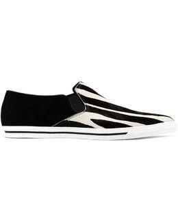 Zebra-print Calf-hair Sneakers