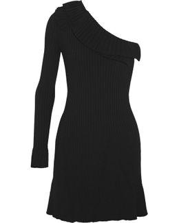 One-shoulder Ruffled Ribbed-knit Mini Dress