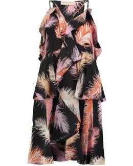 Ruffled Printed Silk-crepe Dress
