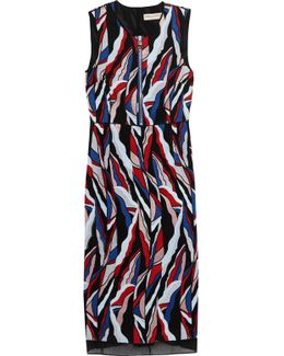 Paneled Embroidered Mesh Dress