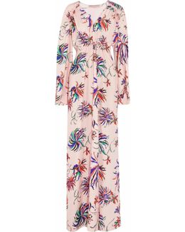 Ruched Printed Silk Maxi Dress
