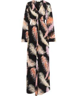 Gathered Printed Silk-chiffon Maxi Dress