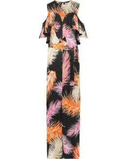 Cold-shoulder Ruffled Jersey Maxi Dress
