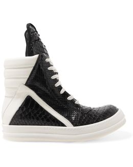 Snake-effect Leather High-top Sneakers