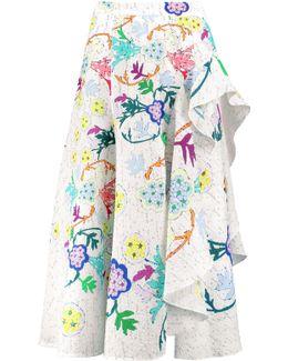 Ruffled Printed Cloqué Skirt