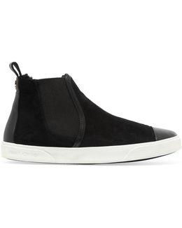 Della Leather-trimmed Suede High-top Sneakers