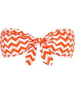 Printed Knotted Bandeau Bikini Top