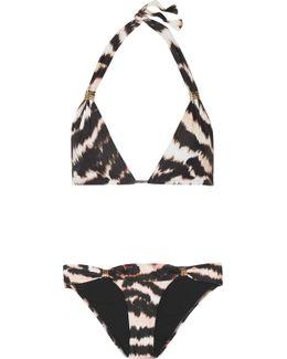 Grenada Embellished Printed Triangle Bikini