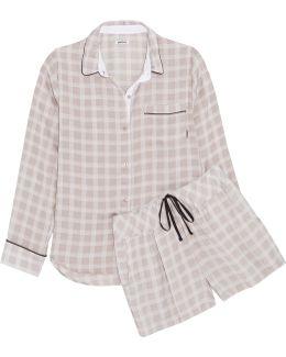 Checked Crepe De Chine Pajama Set