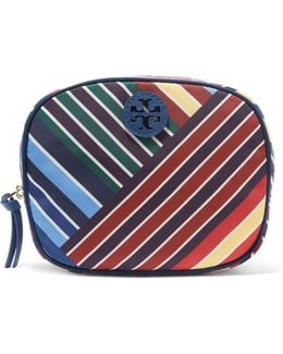 Ella Textured Leather-trimmed Printed Twill Cosmetic Case