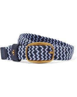 Nubuck-trimmed Woven Stretch-cord Belt