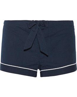 Seersucker Cotton Pajama Shorts