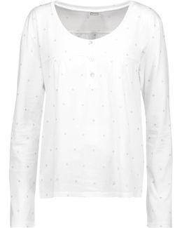 Metallic Printed Cotton-jersey Pajama Top
