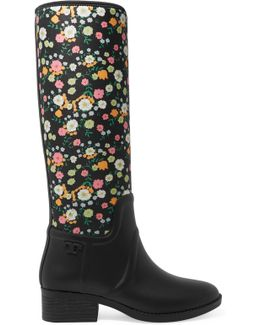 April Floral-print Neoprene And Rubber Rain Boots