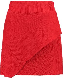 Wrap-effect Textured-crepe Mini Skirt