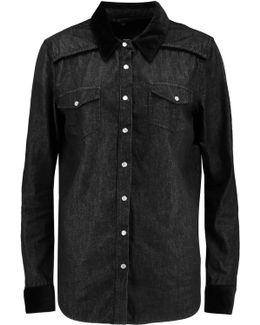 Velvet-trimmed Denim Shirt